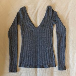 H&M grey rubbed deep V long sleeve top